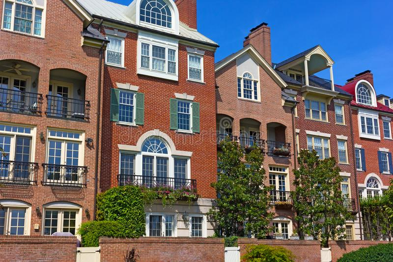 Modern townhouses at Old Town Alexandria waterfront in Virginia, USA. Highly sought after residential development in Old Town of Alexandria royalty free stock images