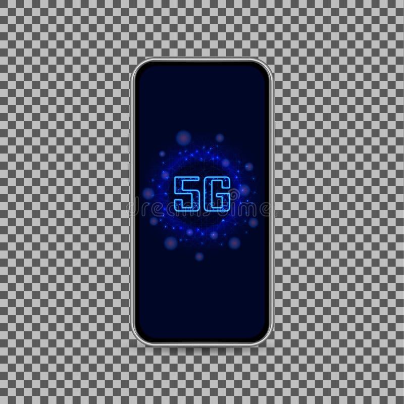 Modern trådlös för wifianslutning för internet 5G teknologi Ny generation av den mobila snabba internet med den realistiska smart stock illustrationer