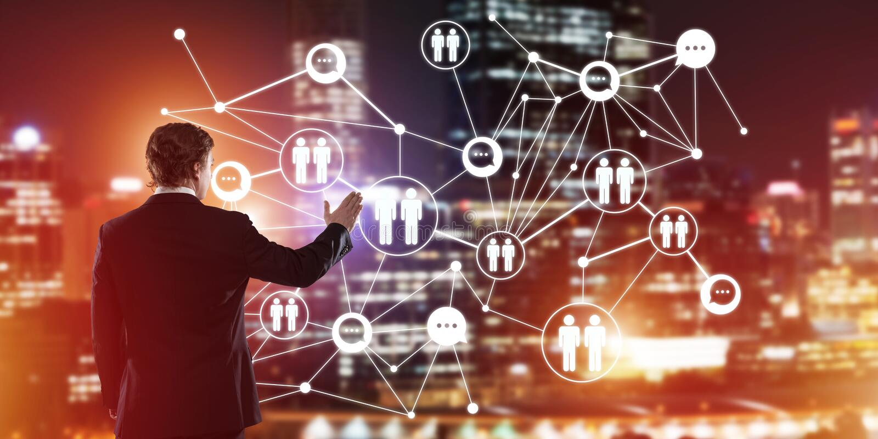Modern trådlösa teknologier och nätverkande som hjälpmedlet för effektiv affär arkivbild