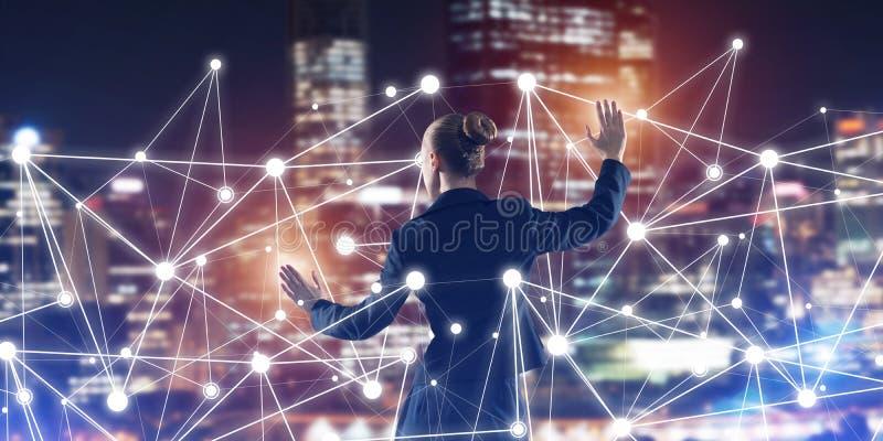 Modern trådlösa teknologier och nätverkande som hjälpmedlet för effektiv affär stock illustrationer