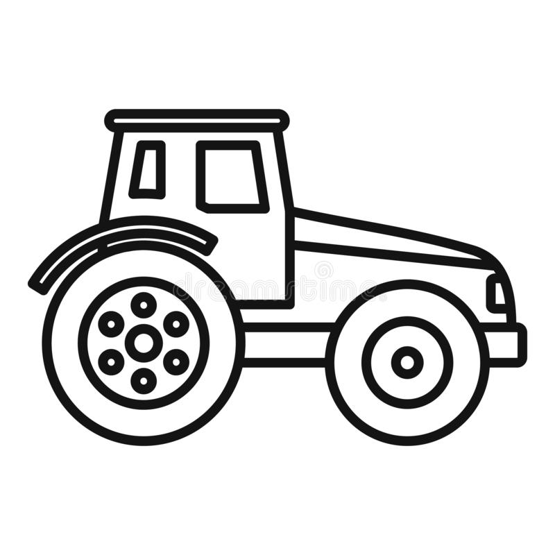 Modern tractor icon, outline style. Modern tractor icon. Outline modern tractor vector icon for web design isolated on white background royalty free illustration
