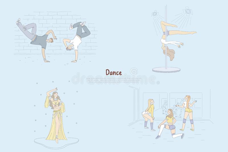 Modern and traditional choreography, break dancers doing tricks, twerking, belly-dance graceful pole dancer banner vector illustration