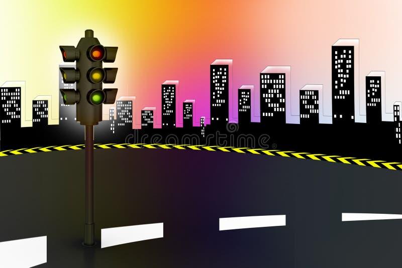 Modern traffic lights and high way royalty free illustration