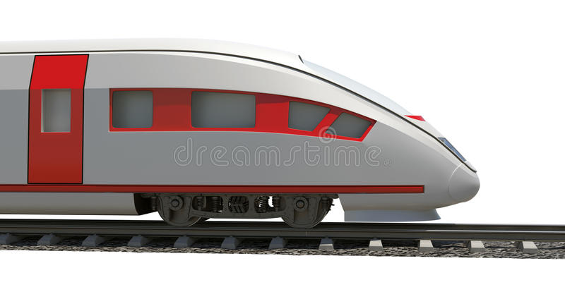 Modern train on white stock photos