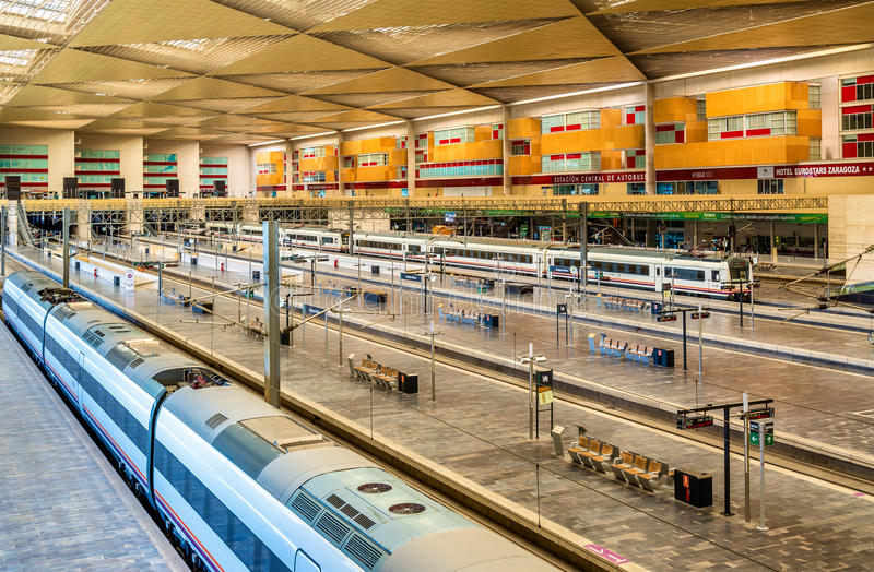 Modern trains at Zaragoza-Delicias station, Spain royalty free stock images