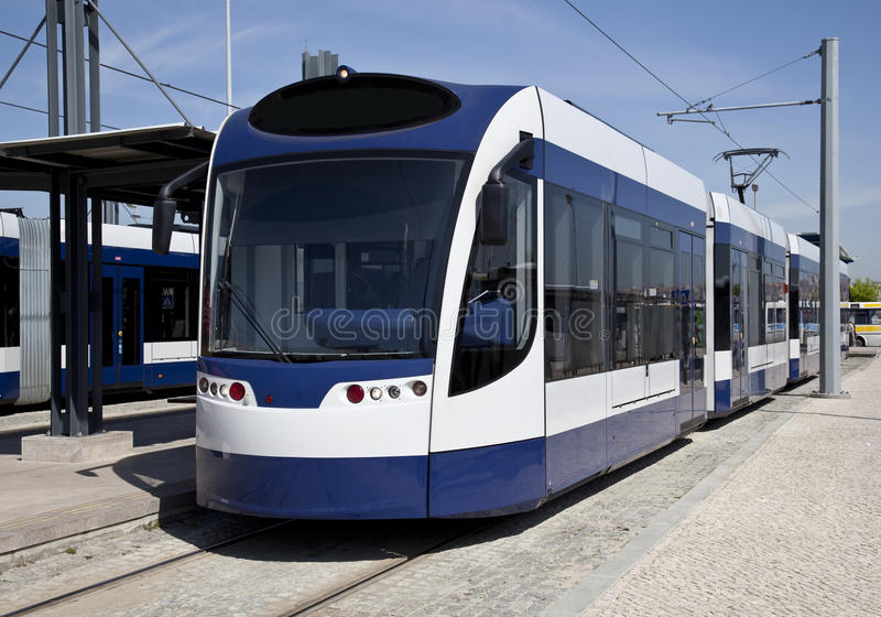 Modern tram. Parked at the metro station stock photo