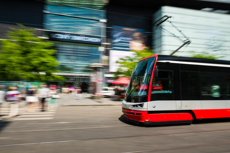 Modern tram blurred in motion in the Prague city. Europe royalty free stock photos