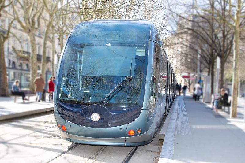 Modern tram in Bordeaux France downtown in summer. A Modern tram in Bordeaux France downtown in summer royalty free stock photo