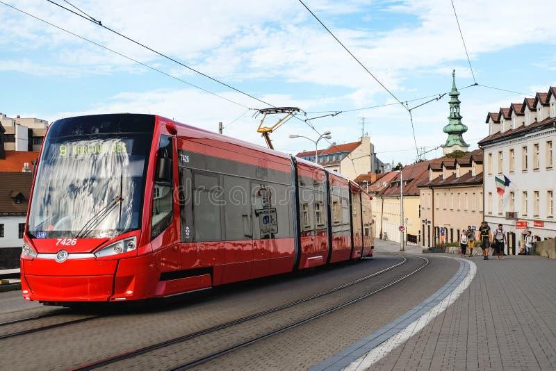 Modern tram in the centre of Bratislava royalty free stock photo