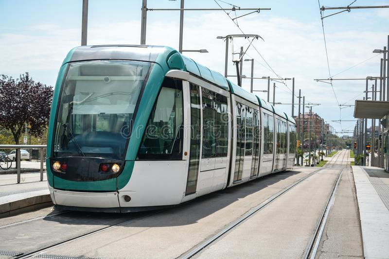Modern tram in city stock images