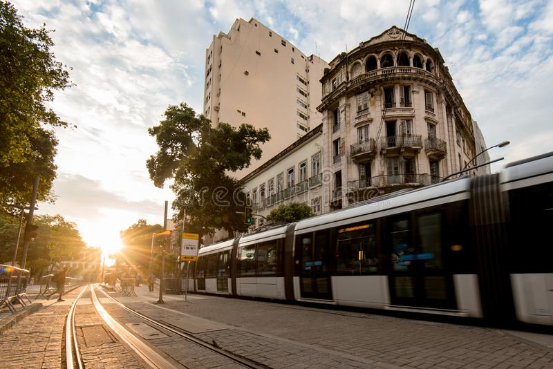 Modern Tram in Old Town. Modern Tram Passing in the Streets of Rio de Janeiro City Center royalty free stock photos