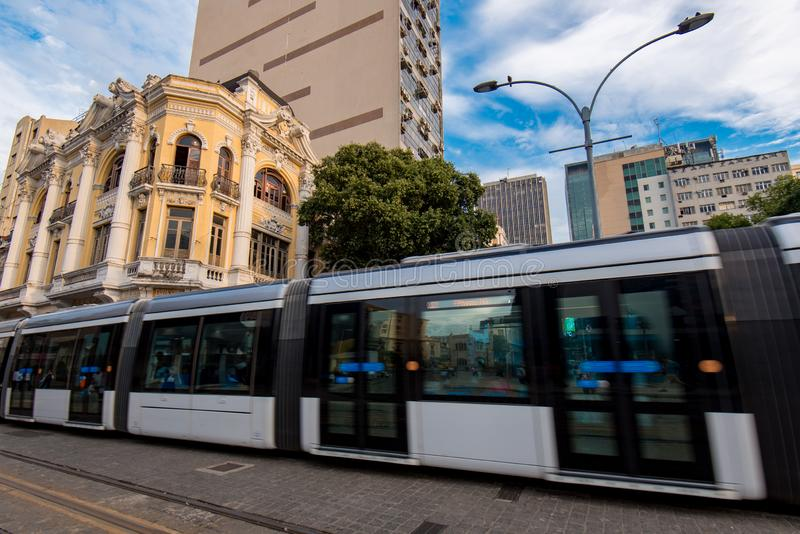 Modern Tram in Old Town. Modern Tram Passing in the Streets of Rio de Janeiro City Center stock photo