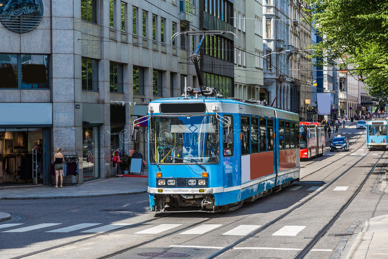 Modern tram in Oslo, Norway stock images