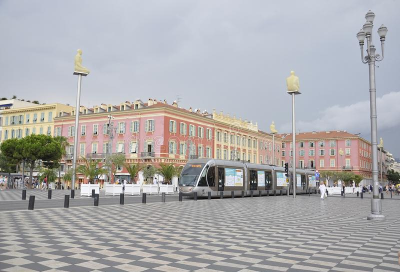 Nice, 4th september: Modern Tram in Place Massena from Nice France royalty free stock image
