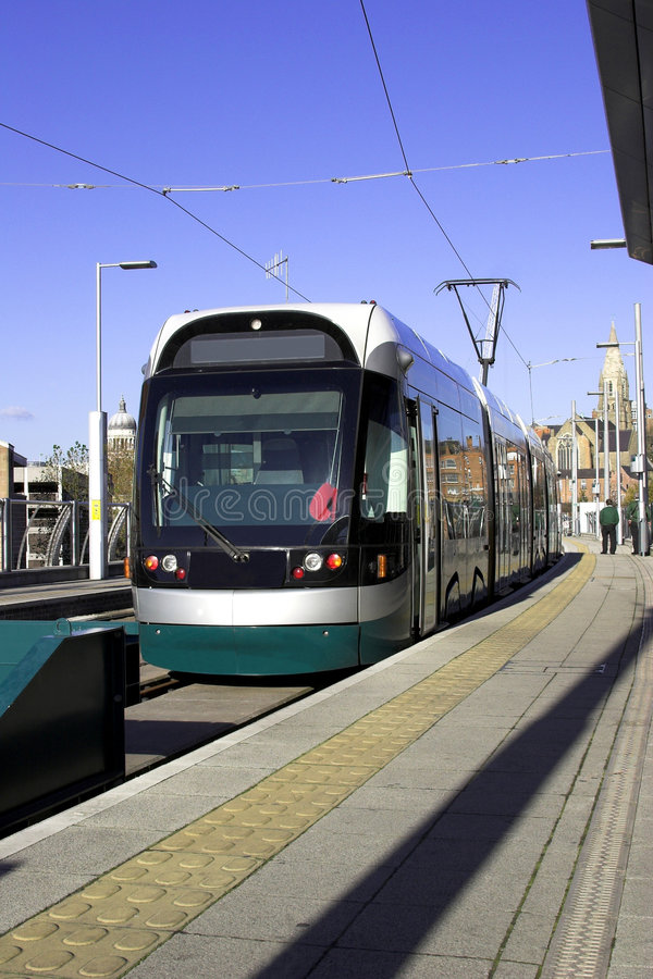 Modern Tram System. A modern tram system in a U.K. city royalty free stock images