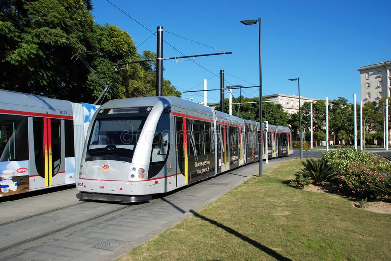 Modern trams, Seville, Spain. stock images