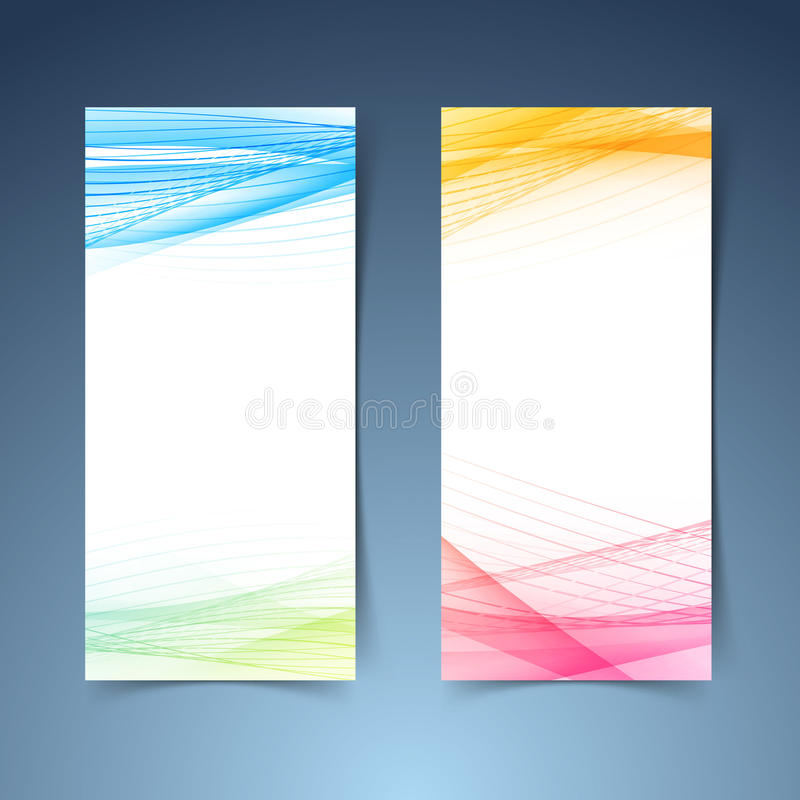 Modern tranparent vertical abstract banner set. In red blue and green color. Vector illustration stock illustration