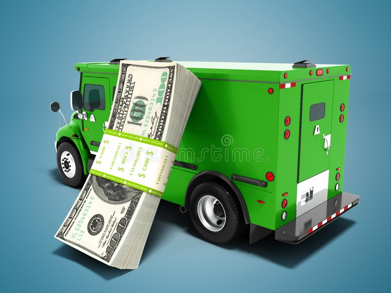 Modern transport concept stack of dollars in green cargo bank wi stock illustration
