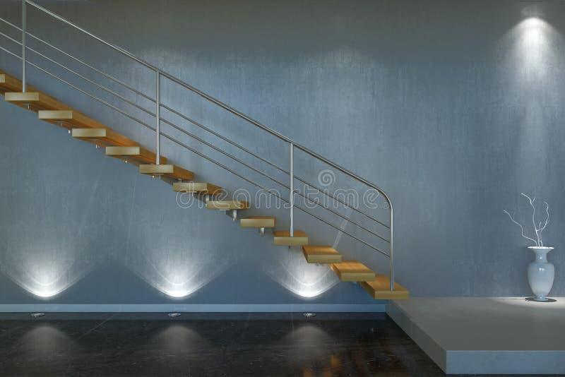 Modern trappa från trä och metall vektor illustrationer