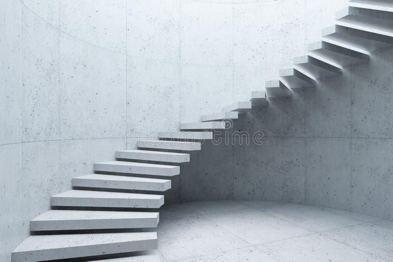 Modern trappuppg?ng i den konkreta inre, 3d att framf?ra fotografering för bildbyråer