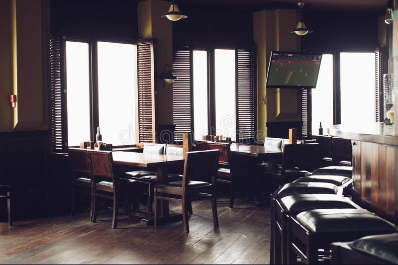 Modern trendy interior of pub royalty free stock images