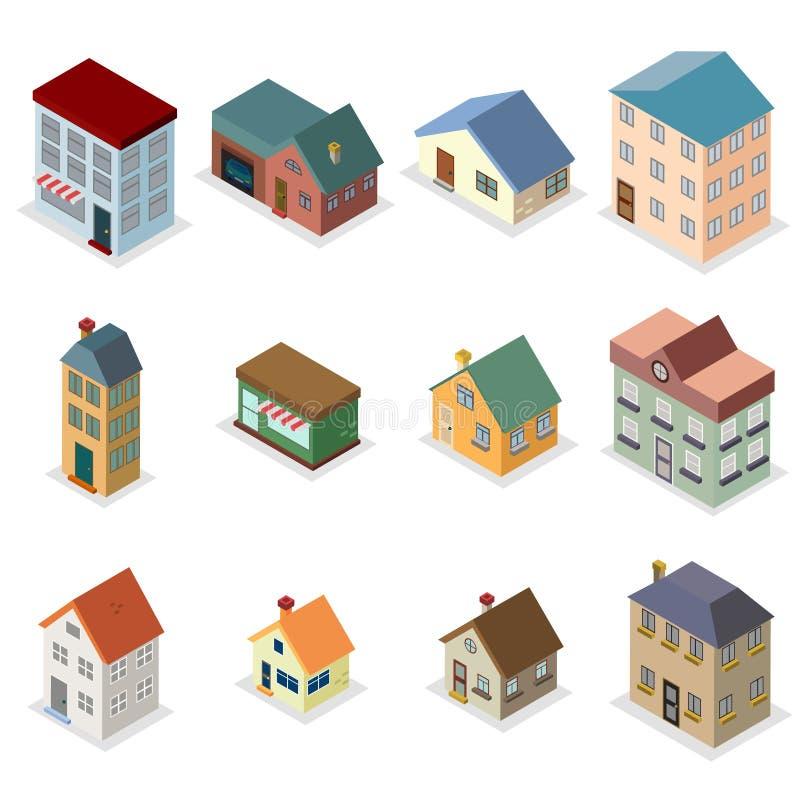 Modern trendy retro house street isometric design concept vector illustration royalty free illustration