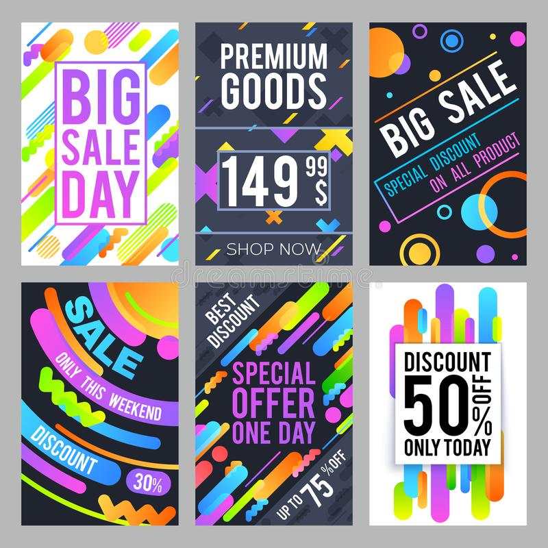 Modern and trendy sale banners with discount and offers. Fashion shopping cards vector template royalty free illustration
