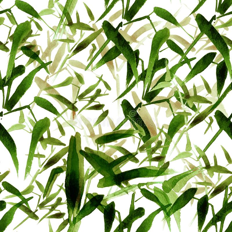 Modern watercolor bamboo seamless pattern. Shades of green stock photos