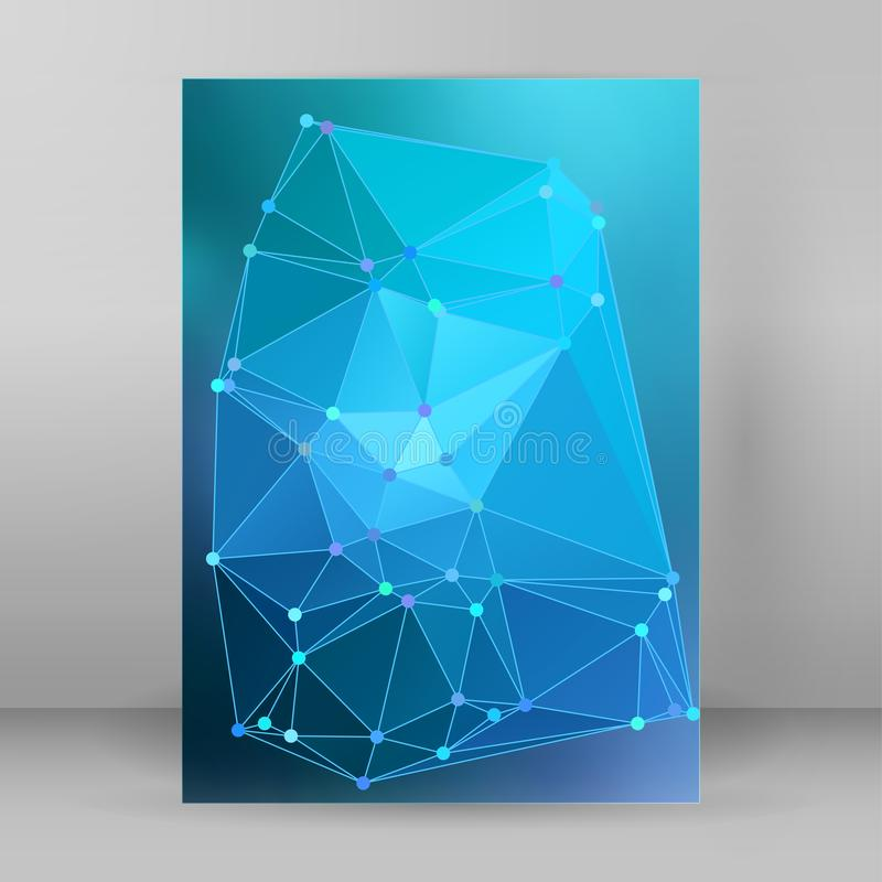 Modern triangle background 3d effect cover page brochure A4 form stock illustration