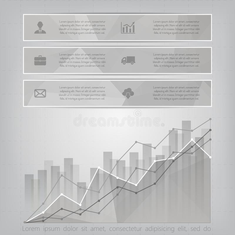 Modern triangular style Business Infographics with abstract financial chart showing various visualization graphs vector illustration
