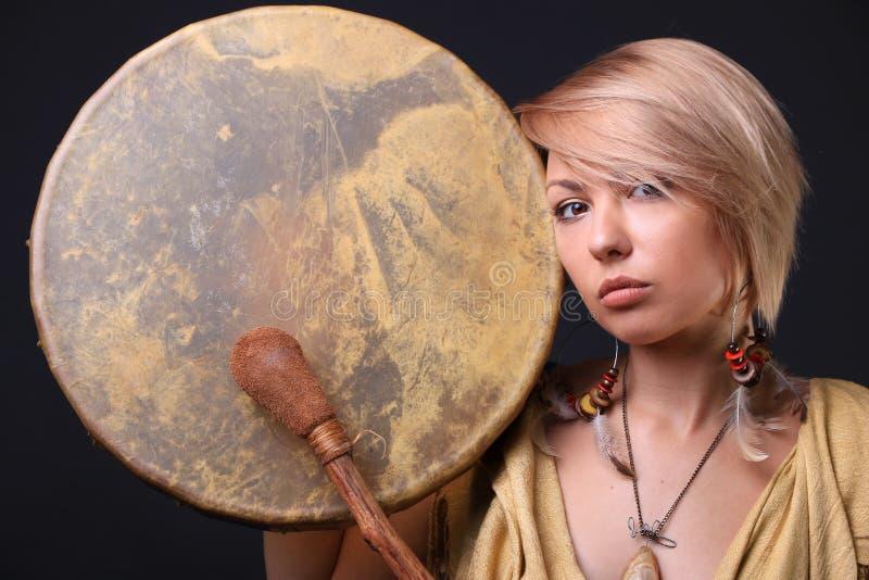 Modern Tribal Woman drum portrait stock image