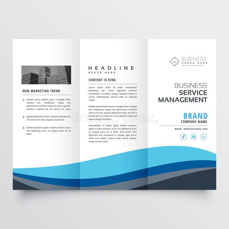 Modern trifold leaflet brochure design in blue wave shape vector illustration