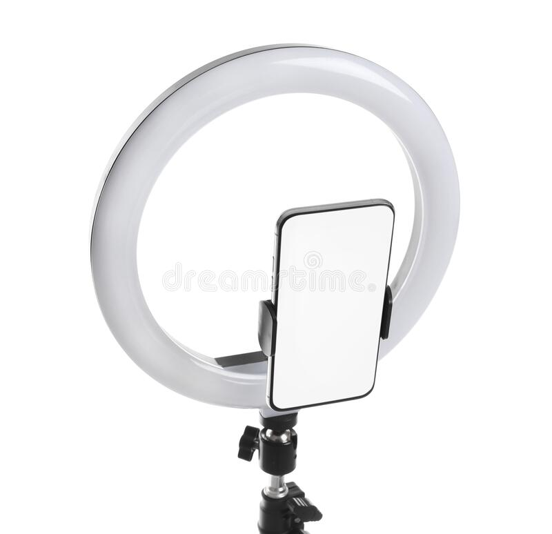Free Modern Tripod With Ring Light And Smartphone Isolated On White Royalty Free Stock Images - 214654439
