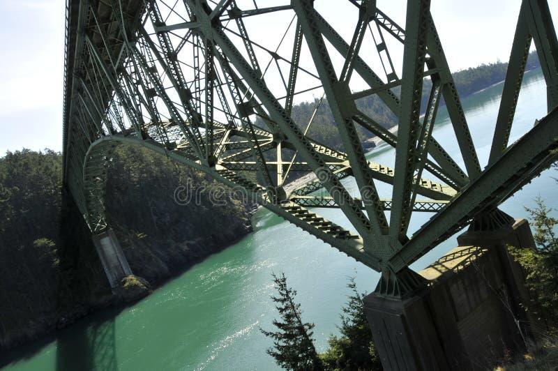 Modern Truss Bridge. Over Deception Passage, Washington Coastline royalty free stock photography