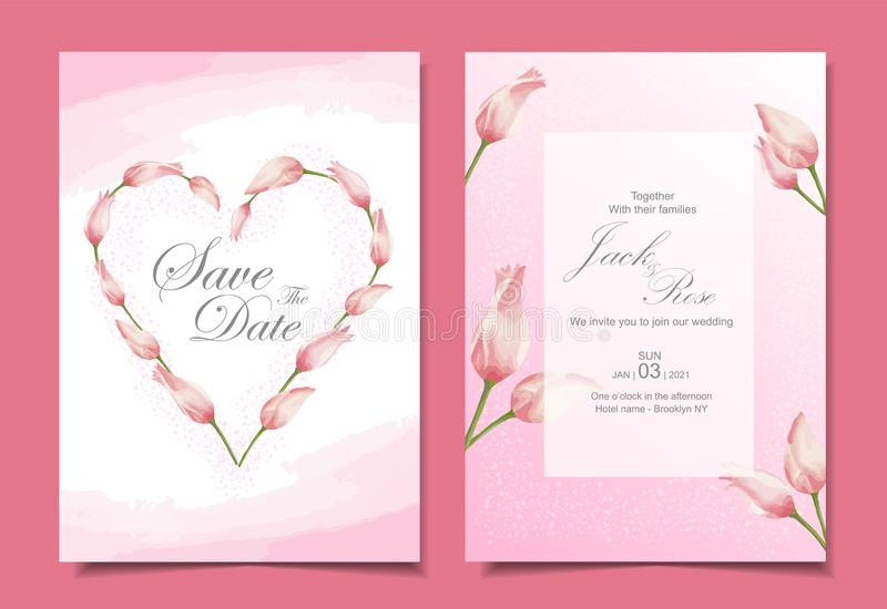 Modern tulips wedding invitation cards template design. Pink color theme with beautiful hand-drawn watercolor flowers royalty free illustration