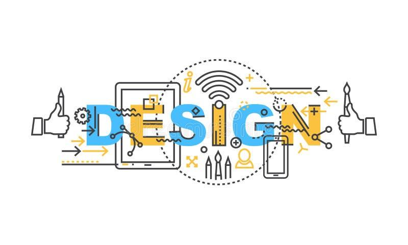 Modern tunn konturlinje baner för designbegrepp av ordlaget Uppsättning vektor illustrationer