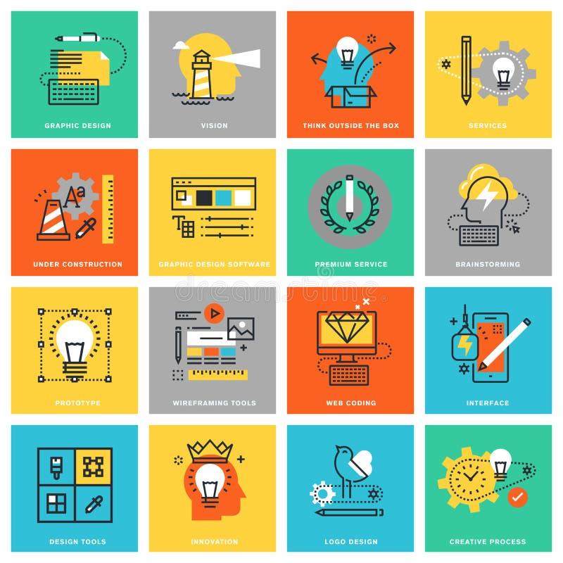 Modern tunn linje lägenhetdesignsymboler för diagram och rengöringsdukdesign royaltyfri illustrationer