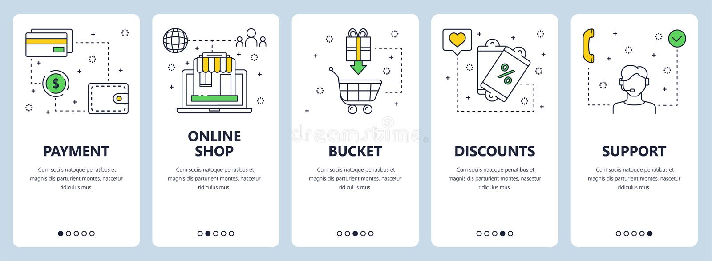 Modern tunn linje online-baner för vektor för betalningbegreppsrengöringsduk stock illustrationer