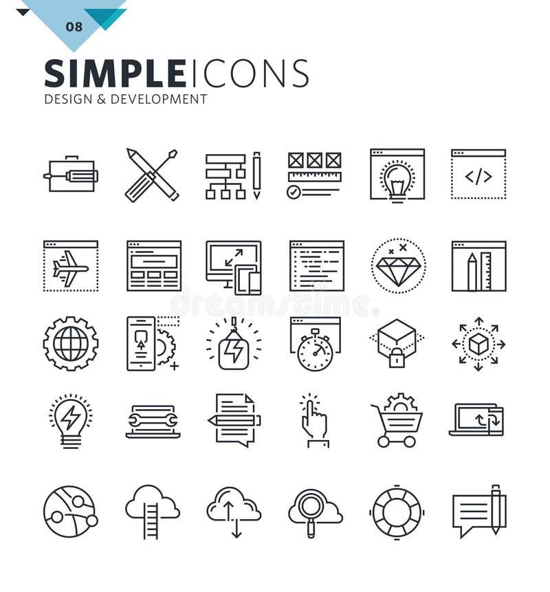 Modern tunn linje symboler av designen och utveckling royaltyfri illustrationer