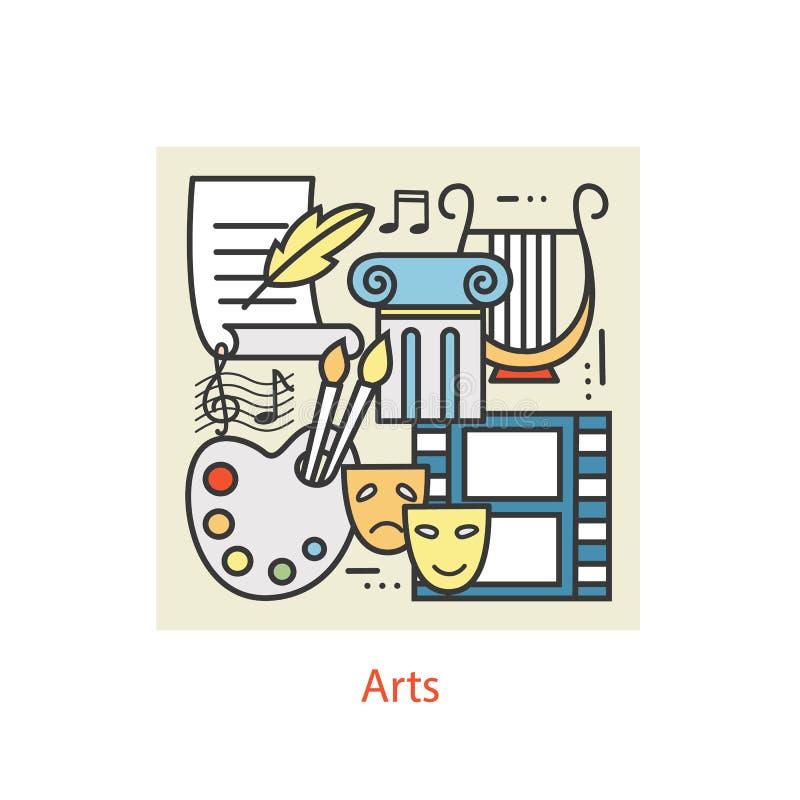 Modern tunn linje symboler av konst stock illustrationer