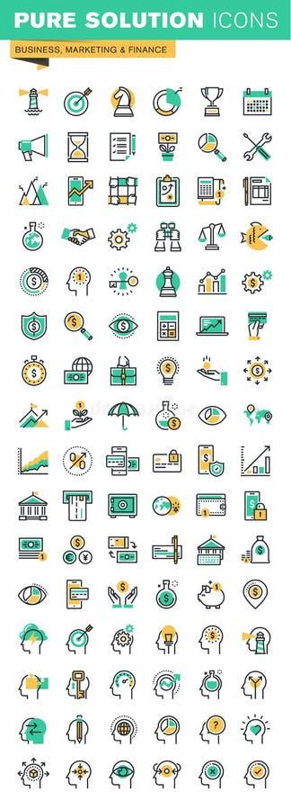 Modern tunn linje symbolsuppsättning av affärsledning, finans, processen för mänsklig hjärna och tillfällen royaltyfri illustrationer