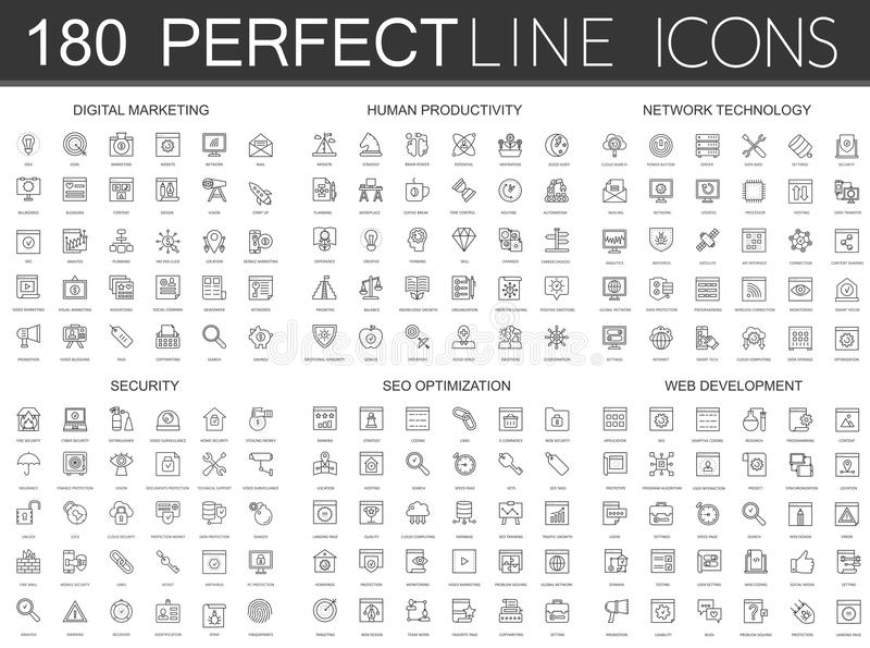 180 modern tunn linje symbolsuppsättning av den digitala marknadsföringen, mänsklig produktivitet, nätverksteknologi, cybersäkerh vektor illustrationer