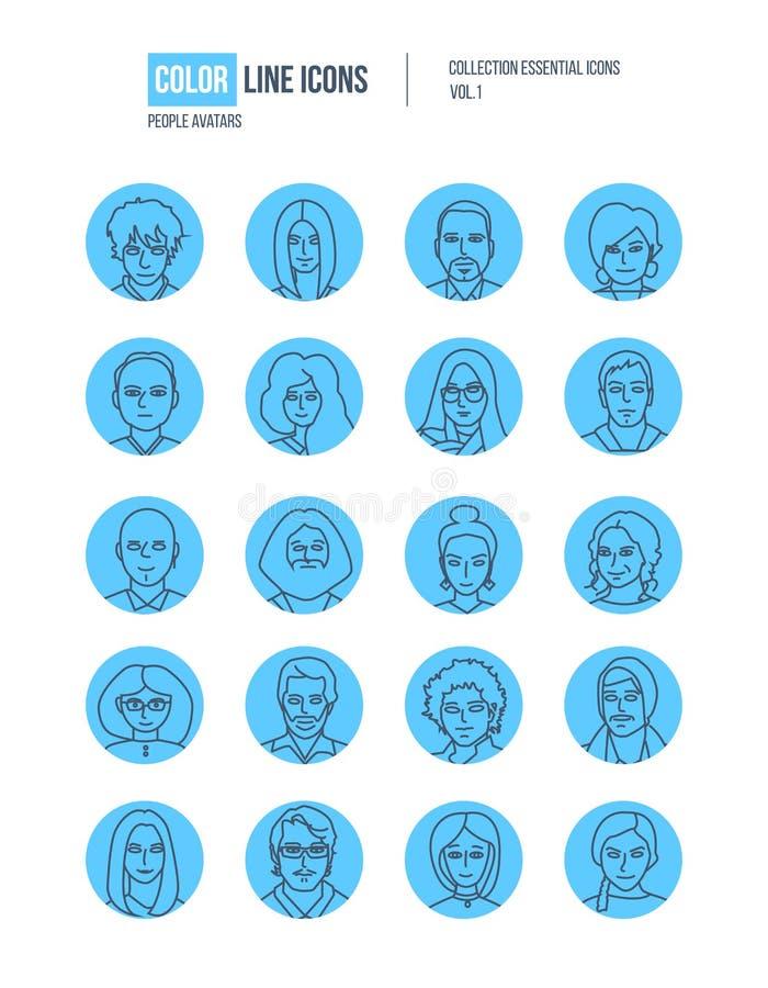 Modern tunn linje symbolsuppsättning av folkavatars royaltyfri illustrationer