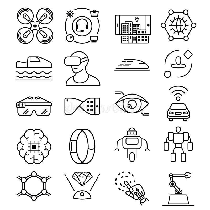Modern tunn linje symbolsuppsättning av framtida teknologi och den konstgjorda intelligenta roboten royaltyfri illustrationer