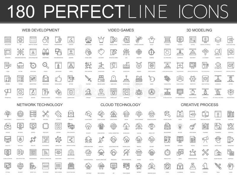 180 modern tunn linje symbolsuppsättning av rengöringsdukutveckling, videospel, 3d som modellerar, nätverksteknologi, molndatatek royaltyfri illustrationer