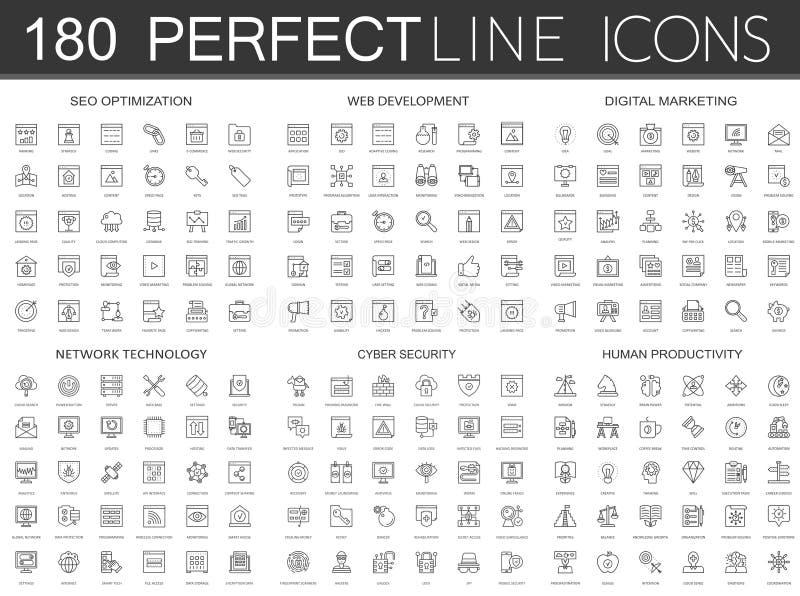 180 modern tunn linje symbolsuppsättning av seooptimization, rengöringsdukutveckling, digital marknadsföring, nätverksteknologi,  royaltyfri illustrationer