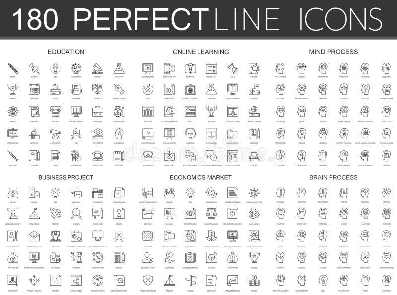 180 modern tunn linje symbolsuppsättning av utbildning som lär direktanslutet, meningsprocess, affärsprojekt, nationalekonomimark vektor illustrationer
