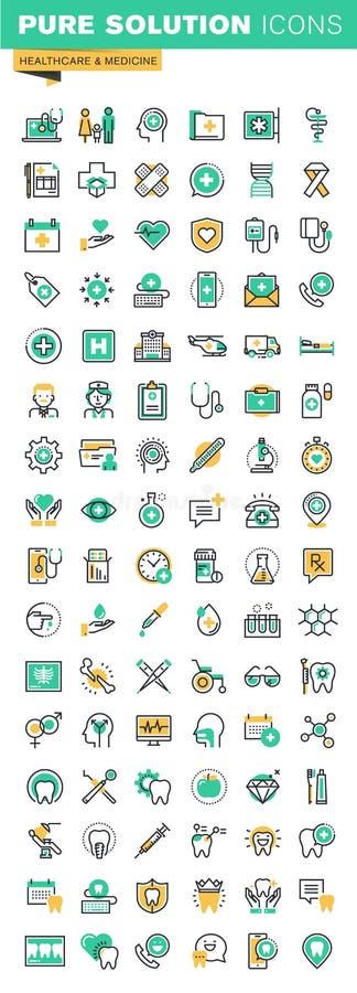 Modern tunn linje symbolsuppsättning av vård- behandlingservice, tand- behandling och prosthetic royaltyfri illustrationer