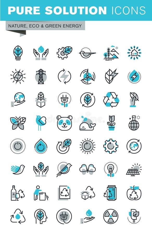 Modern tunn linje uppsättning för lägenhetdesignsymboler av ekologi royaltyfri illustrationer