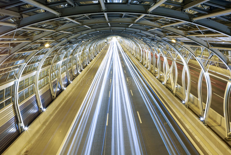 Modern tunnel and traffic royalty free stock image